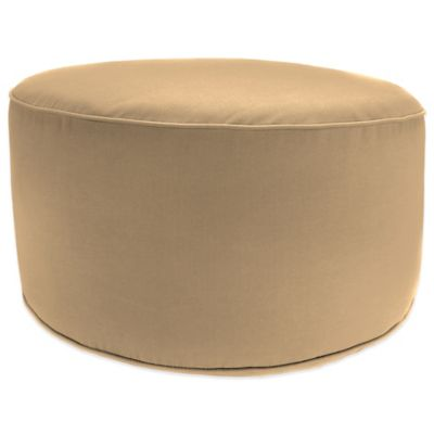 Outdoor Round Pouf Ottoman in Sunbrella® Canvas Jockey Red