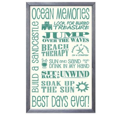 """Ocean Memories"" Framed Sign Wall Décor"