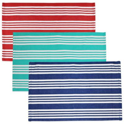 Anchor Beach Stripe Placemat in Blue/White