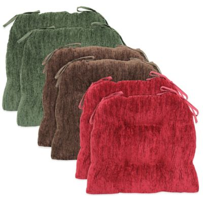 Solid Textured Chenille Chair Pads in Green (Set of 2)