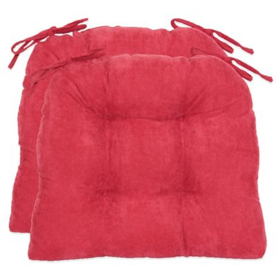 Oversized Solid Corduroy Cushions in Red (Set of 2)