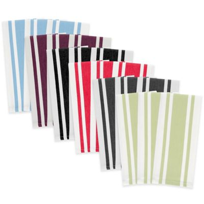 Heavyweight Striped Kitchen Towels in Black (Set of 3)