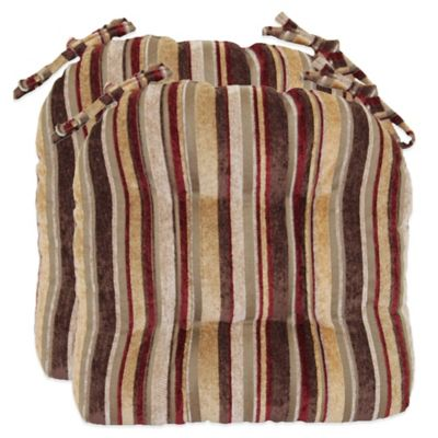 Manson Striped Chenille Chair Cushions (Set of 2)