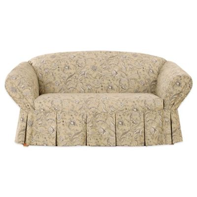 Sure Fit® Fanciful Floral by Waverly™ Loveseat Slipcover in Ironstone
