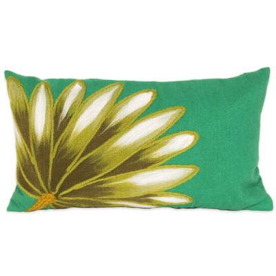 Liora Manne Palm Fan 12-Inch x 20-Inch Outdoor Throw Pillow in Teal