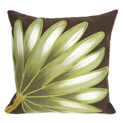 Liora Manne Palm Fan 20-Inch x 20-Inch Outdoor Throw Pillow in Chocolate
