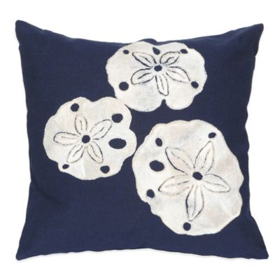 Liora Manne Sand Dollar 20-Inch x 20-Inch Outdoor Throw Pillow in Navy