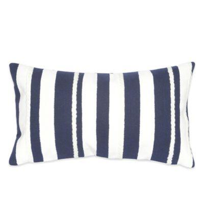 Liora Manne Marina Stripe 12-Inch x 20-Inch Outdoor Throw Pillow in Marine