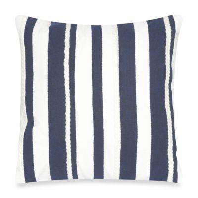 Liora Manne Marina Stripe 20-Inch x 20-Inch Outdoor Throw Pillow in Marine