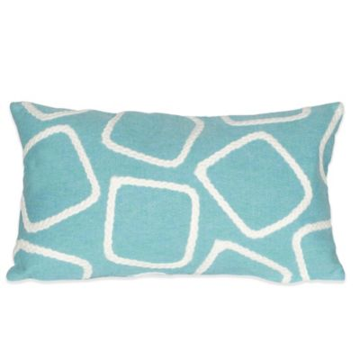 Liora Manne Squares 12-Inch x 20-Inch Outdoor Throw Pillow in Aqua