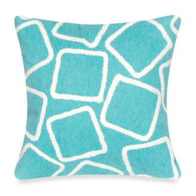 Liora Manne Squares 20-Inch x 20-Inch Outdoor Throw Pillow in Aqua