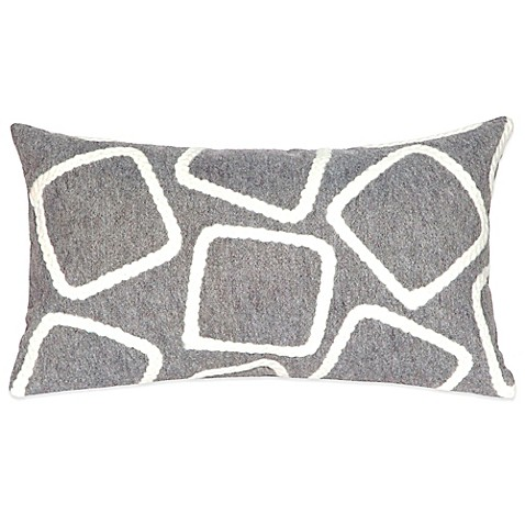 Liora Manne Squares 12-Inch x 20-Inch Outdoor Throw Pillow in Silver - BedBathandBeyond.com