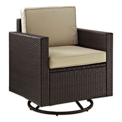 Crosley Palm Harbor Outdoor Wicker Swivel Rocker Chair in Brown