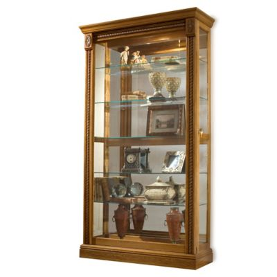 Pulaski Two-Way Sliding Door Curio in Estate Oak