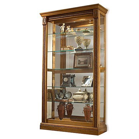 Buy pulaski two way sliding door curio in estate oak from for Curio cabinet spot