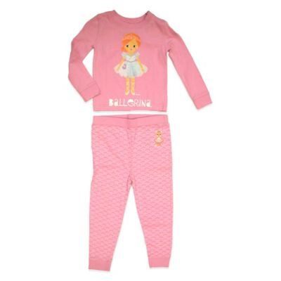 Ballerina 2-Piece Size 2 PJ Set in Pink