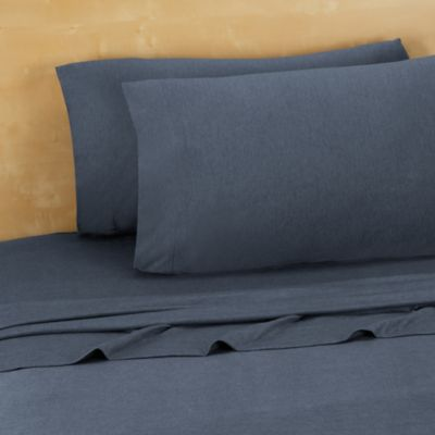 Brooklyn Flat Extra Soft Jersey Twin/Twin XL Sheet Set in Denim Blue