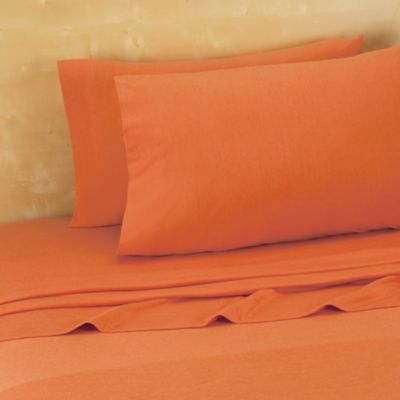 Brooklyn Flat Extra Soft Jersey Queen Sheet Set in Pumpkin