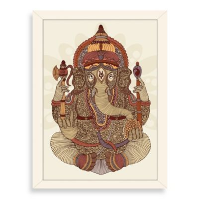 Americanflat Valentina Ramos Ganesha Digital Print Wall Art with White Frame