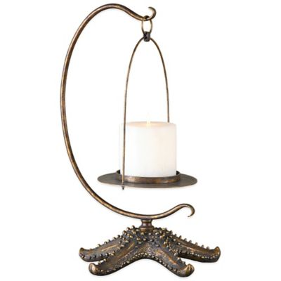Uttermost Starfish Antiqued Candle Holder in Gold