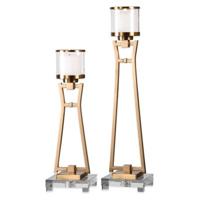 Uttermost Leonidas Candle Holders in Gold (Set of 2)