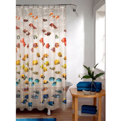 Embossed New School Fish PEVA Shower Curtain
