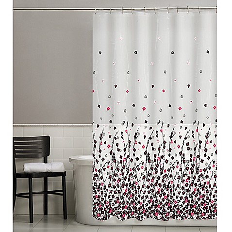 buy posy shower curtain in pink black from bed bath beyond