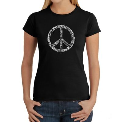 Women's Large Word Art Peace 77 T-Shirt in Black