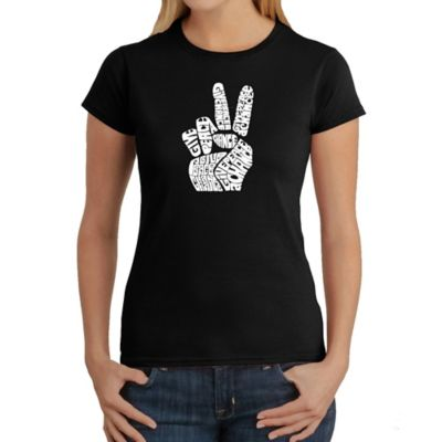 Women's Large Word Art Peace Fingers T-Shirt in Black