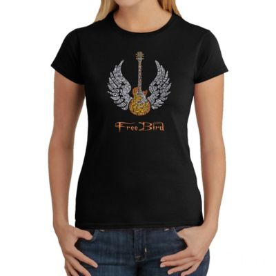 Women's Small Word Art Freebird T-Shirt in Black