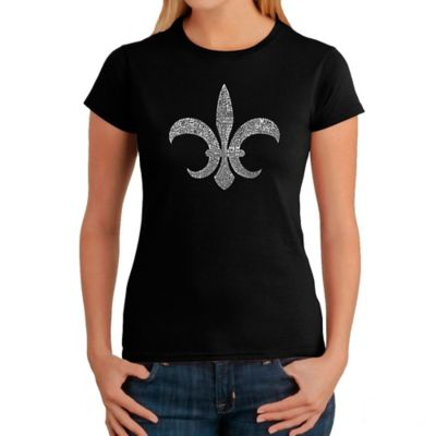 Women's Small Word Art Louisiana T-Shirt in Black