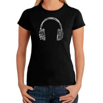 Women's Large Word Art Headphones in Languages T-Shirt in Black