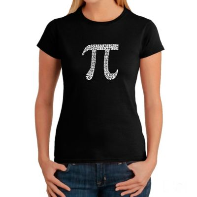 Women's Large Word Art Pi T-Shirt in Black