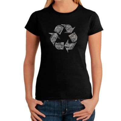 Women's Small Word Art Recycle T-Shirt in Black