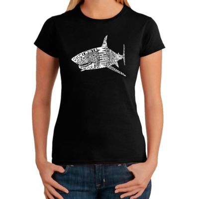 Women's Large Word Art Shark T-Shirt in Black
