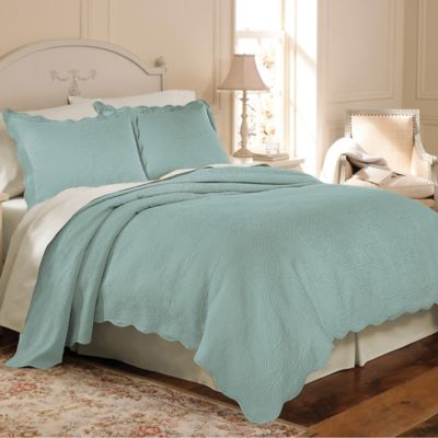 Matelasse Coventry Twin Coverlet Set in Aqua