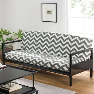 Loft NY Cotton Rich Full Futon Cover in Grey Chevron