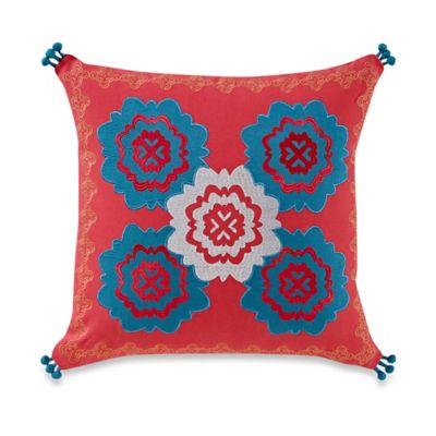 Anthology™ Minka Embroidered Square Throw Pillow in Fuchsia