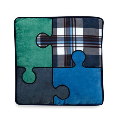 Winston Plaid Puzzle Piece Square Throw Pillow