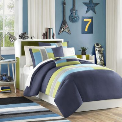 Mizone Pipeline Reversible Full/Queen Comforter Set in Navy