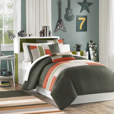 Mizone Pipeline Reversible Twin/Twin XL Duvet Cover Set in Olive
