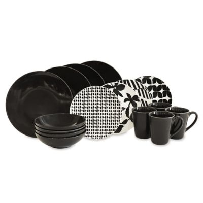 Baum 16-Piece Dinnerware Set in Black/White