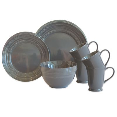 Baum Darby 16-Piece Dinnerware Set in Charcoal