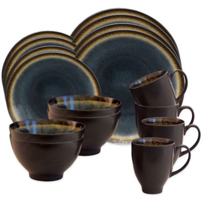 Baum Galaxy Coupe 16-Piece Dinnerware Set in Denim