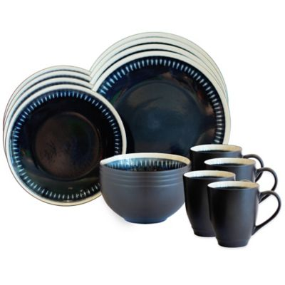 Baum Reactive Lines 16-Piece Dinnerware Set in Blue