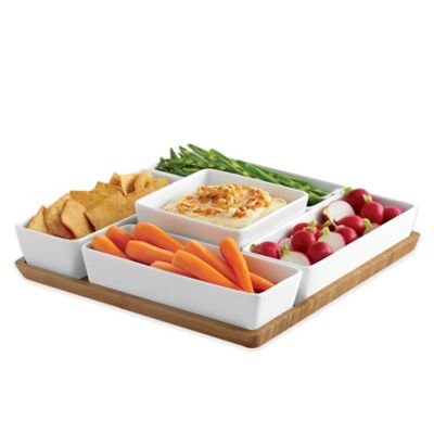B. Smith 6-Piece Multi Server with Porcelain Bowls and Bamboo Tray Set