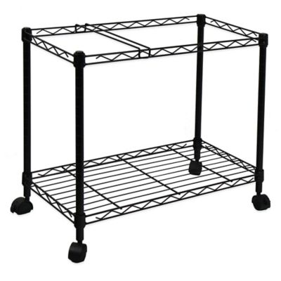 Oceanstar Portable 1-Tier Metal Rolling File Cart in Black