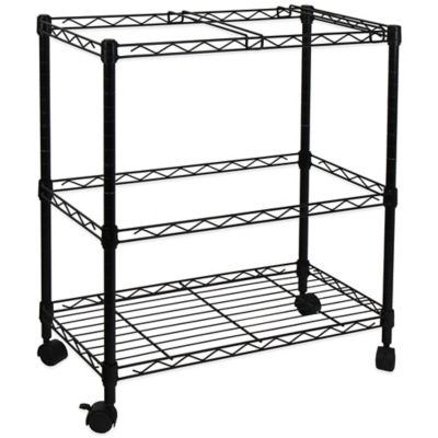 Oceanstar Portable 2-Tier Metal Rolling File Cart in Black