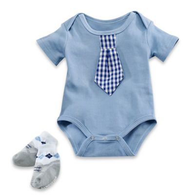 Baby Aspen Size 0-6M 2-Piece Little Man Bodysuit and Sock Set in Blue/White