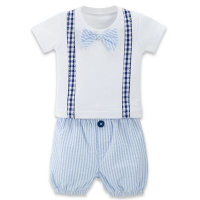 Baby Aspen Size 0-6M 2-Piece Little Man Bowtie T-Shirt and Seersucker Short Set in Blue/White